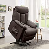 Domesis Renu Leather Wall Hugger Power Lift Chair Recliner, Brown Renu Leather
