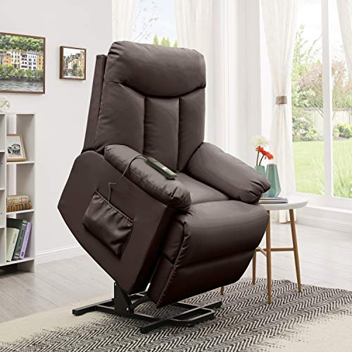 (Domesis Renu Leather Wall Hugger Power Lift Chair Recliner, Brown Renu)