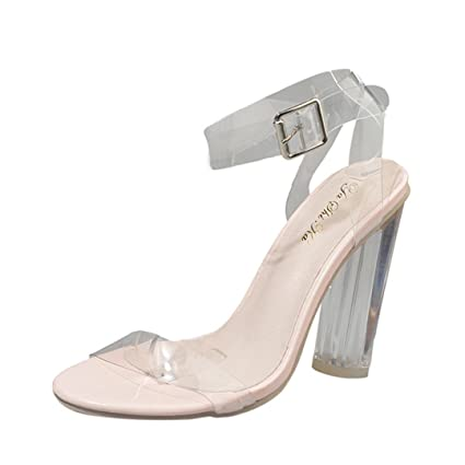 bccd16b174 Transparent Sandals, SUKEQ Fashion Women Lucite Clear Ankle Strappy Block  Perpex Heel Sandals High Chunky
