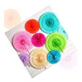 Amaping Flowers Pinwheel Paper Fan 30cm (R) Birthday Decoration Wedding Tissue Fan (Random)