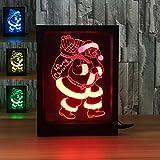 3D Santa Claus Night light 7color Visual illusion Lamp Remote Control Lamp Kids Living/bedroom Table/desk LED Photo frame
