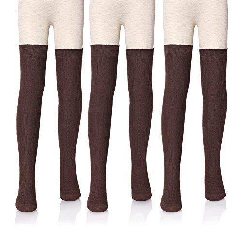 LANLEO 3 Pairs Girls' School Uniform Cable Knit Over Knee High Tube Warm Cotton Socks (Brown (Cable Knit Kids Shoes)
