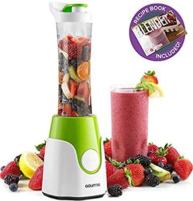 Gourmia GPB250 Personal Home Blender - BlendMate Smoothie Plus Edition - Included Travel Sport Bottle & Lid - Dual Action Blade - 250W - Green - Free E-Recipe Book Included