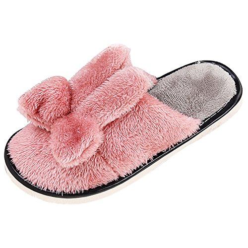 Eastlion Women's Cute Winter Indoor Anti-skid Fleece Keep Warm Slippers Home House Slippers Dark Pink 3jbVdMKcN