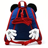 Disney Mickey Minnie Mouse Finger Backpack with a Removable Strap Safety Harness to Prevent Children from Going Missing (Blue Mickey)