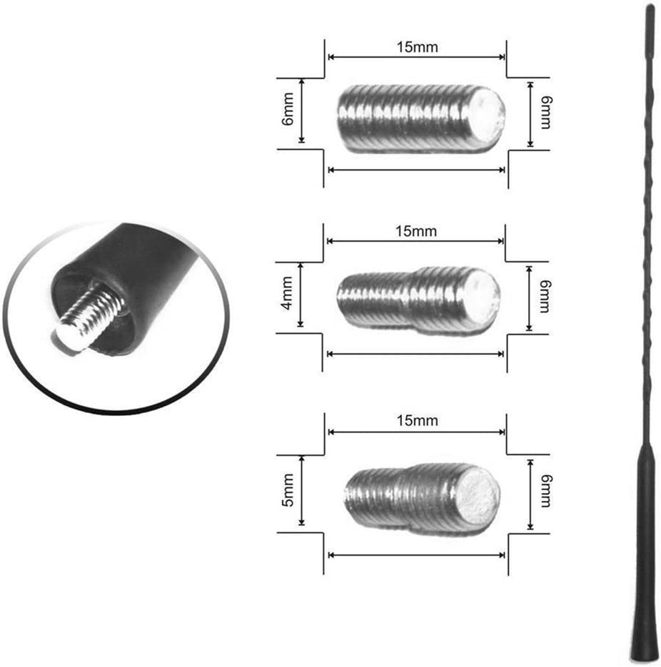 73JohnPol Antenne Universelle dantenne de Voiture de 16 Pouces AM//FM Toit Automatique antenne Flexible de m/ât en Spirale Anti-Bruit r/ésistant aux intemp/éries