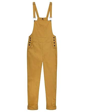 5cd9edc6014 Yeokou Women s Loose Baggy Cotton Wide Leg Jumpsuit Rompers Overalls Harem  Pants (Large