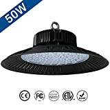 Jeffrien LED High Bay Light, UFO Commercial Lighting 110Lm/W 50W 6000K Day White, Super Bright LEDs for Garage Gym Workshop Warehouse Tunnel Exhibition Stadium
