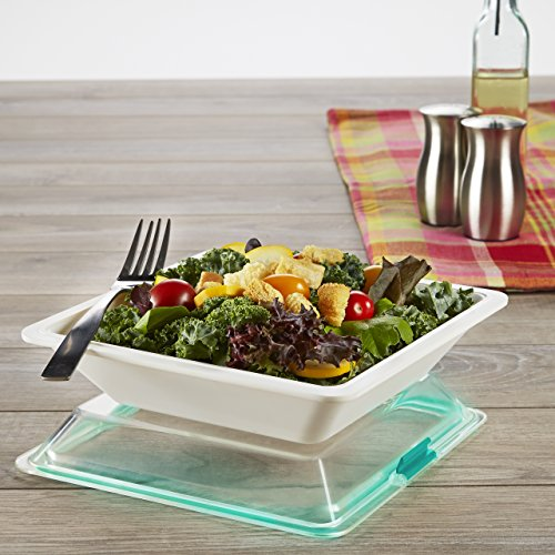 Fits Square Plates (Fit & Fresh Premium Square Meal Prep Container with Leakproof Snap Locking Lid and    Microwave Vent, Lightweight, Durable, White)