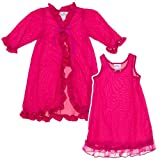 Laura Dare Fuschia Pink Peignoir Set--Nightgown & Robe