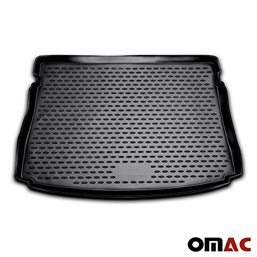OMAC USA Custom Fit All Weather 3D Molded Black Rubber Cargo Liner Trunk Mat Waterproof Protector for Volkswagen Golf GTI MK7 2015-2019
