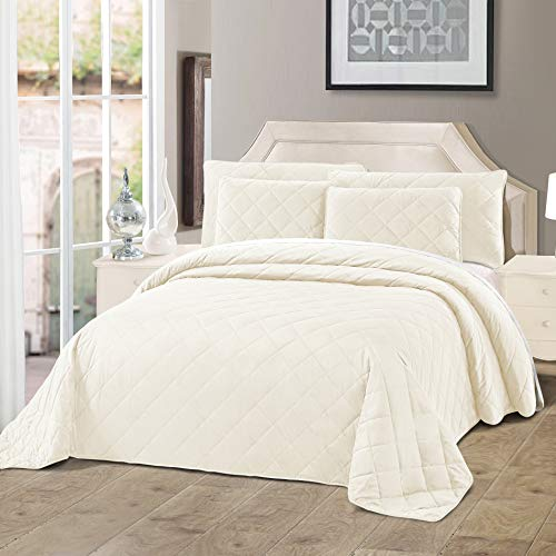 Home Soft Things Serenta Velvet Quilted 5 Piece Bed Spread Set, Gardenia, Over-Sized King (122