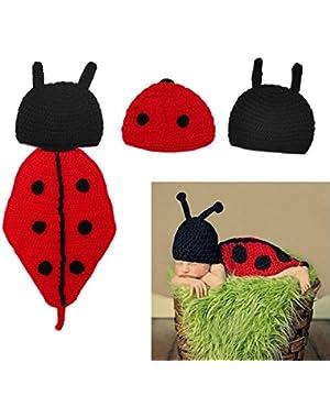 Newborn Boy Girl Crochet Ladybug Hat With Bottom Infant Clothing Set Cute