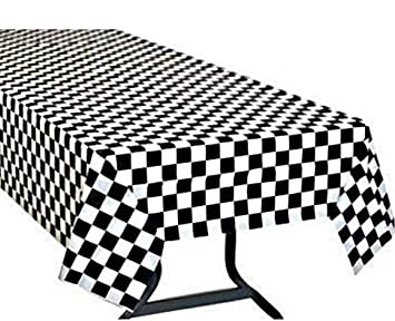 Yooyee Black And White Checkered Plastic Tablecloths Disposable