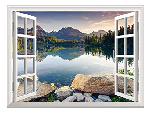 Removable Wall Sticker Wall Mural Peaceful Lake in Autumn Creative Window View Wall Decor