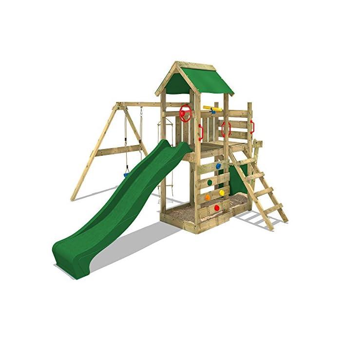 511 nUFpSzL WICKEY Torre de escalade para niños con tobogán, columpio, escalera de cuerda y caja de arena Poste 9x4,5cm - Poste de columpio 9x9cm - Madera maciza impregnada a presión Calidad y seguridad aprobada - Instrucciones de montaje sencillas y detalladas - Made in Germany
