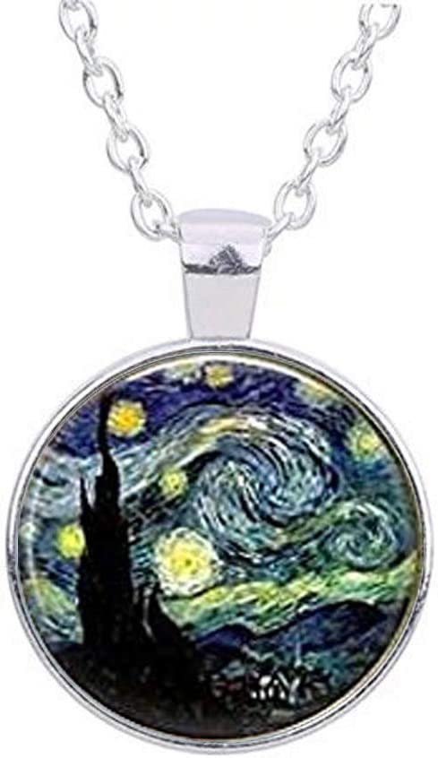 STARRY NIGHT Vincent Van Gogh Art Glass Tile Pendant Necklace Silver Jewelry