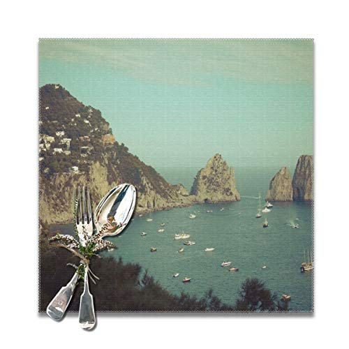 - Becmd Amalphi Coast,Capri Italy Placemats for Dining Table,Washable Placemat Set of 6, 12x12 inch