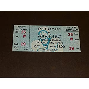 1952 DAVIDSON AT HARVARD COLLEGE FOOTBALL FULL TICKET EX MINT PLUS