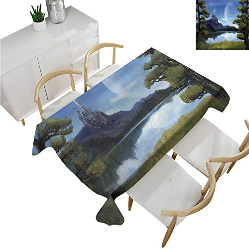 familytaste Fantasy,Table Cloth Printed,Moon Surreal Scene with Riverside Lake Forest and Medieval Castle on Hill Art,Party Tablecloth Covers 54