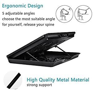 Laptop Cooler Cooling Pad BUJIAN Ultra-Slim cooling pad Adjustable Laptop With2 US Powered Fans (12-15.6 Inches) (A-T150)