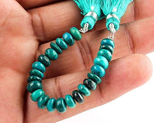 Jaguar Gems 30+cts A+ Natural Chrysocolla Stone Beads, Loose Crystals Mala Strand, Jewelry Making Supply, Handmade Mini Strand, Crafts-DIY Designer Stone Supply, Positive Energy Stone, 25+Beads