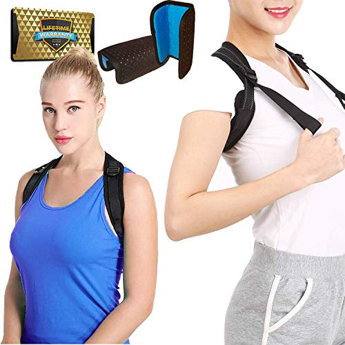 or for Women & Men + Double Detachable Pads - Effective and Comfortable Posture Brace for Slouching & Hunching - Discreet Design - Clavicle Support Brace (28
