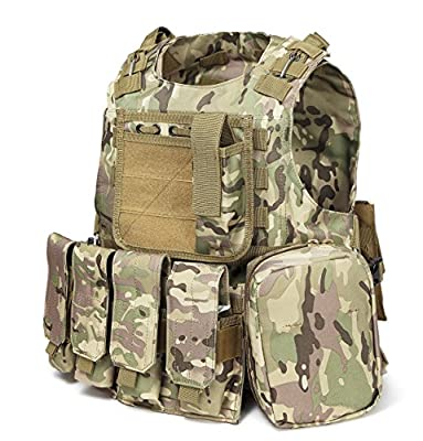 xbn Tactical Vest Outdoors Training Protection Vest Costume-Adjustable with Removeable Pouche