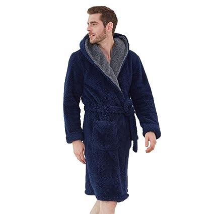 MERRYHE Unisex Waffle Shawl Collar Albornoz Coral Fleece Bath Vestido De Baño De Los Hombres Camisón