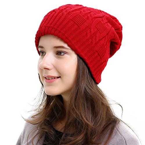 Waffle Weave Crochet (Unisex Trendy Warm Oversized Chunky Soft Cable Knit Slouchy Beanie Hat Double Layer Red One Size)