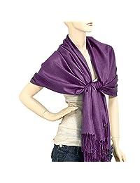 "Falari Women's Solid Color Pashmina Shawl Wrap Scarf 80"" X 27"" (Eggplant Purple)"