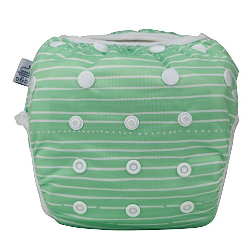 Nageuret Premium Reusable Baby Swim Diapers By Beau & Belle Littles Washable Adjustable Fits Babies 0-36 Months, 8-36 Lbs CPSIA Certified Great for Swimming Lessons & Baby Shower Gift, Stripes