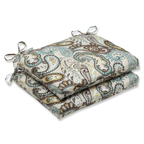Pillow Perfect Outdoor Tamara Paisley Quartz Squared Corners Seat Cushion, Set of 2