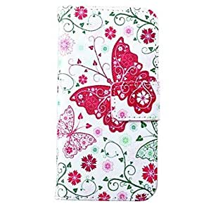 Butterfly Flower Pattern PU Leather Full Body Case for iPhone 5/5S
