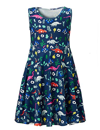 Uideazone Kids Girls Print Forest Dinosaur Floral Cute Sleeveless Dress Sundress White 8-9 ()