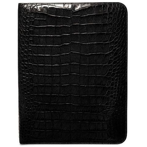 Jack Georges Unisex [Personalized Initials Embossing] Croco Letter Size Writing Pad Cover in Black by Jack Georges