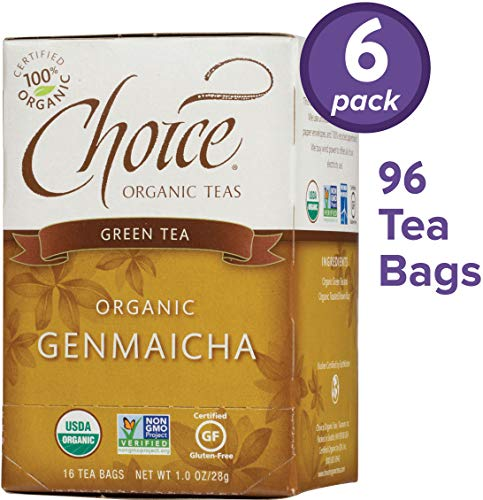 Choice Organic Teas Green Tea, 6 Boxes of 16 (96 Tea Bags), Genmaicha (Eden Organic Brown Rice)
