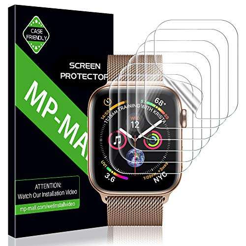 MP-MALL Screen Protector for Apple Watch 44mm / 42mm (Series 4/3/2/1 Compatible), [6-Pack] Anti-Bubble Screen Protector Flexible Film, Lifetime Replacement Warranty