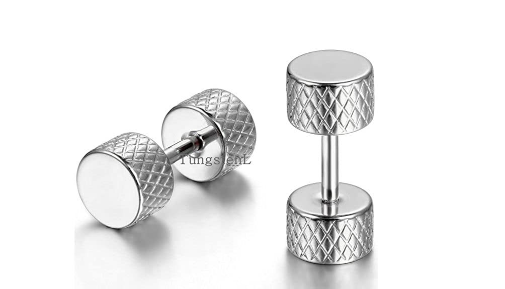 Earrings for Guys Stainless Steel Barbell Punk Gothic Mens Stud Earrings 5mm
