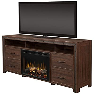 DIMPLEX Electric Fireplace, TV Stand, Media Console, Space Heater and Entertainment Center with Natural Log Set in Grainery Brown Finish - Thom #GDS26L8-1843GB