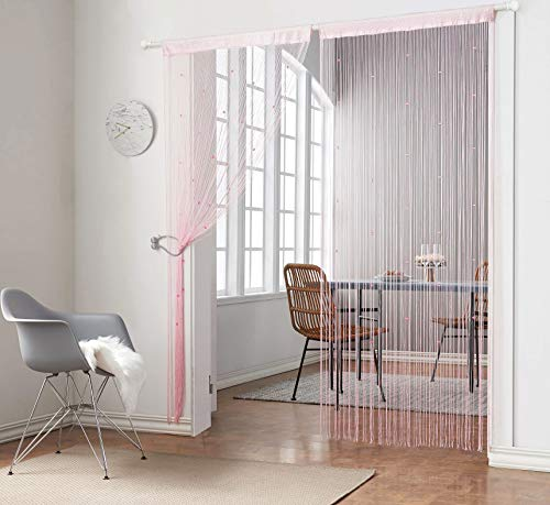 Taiyuhomes Knitting Beaded String Curtains with Pearl Beads Dense Fringe Beaded Door Tassel Curtains (39x79,Pink)]()