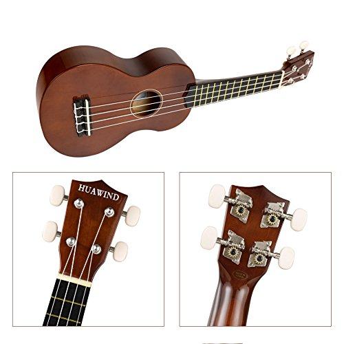Soprano Ukulele For Beginners Four String Ukulele Start Pack W/ Gig Bag Tuner Picks Polish Cloth Extra Strings (Brown) - Image 3