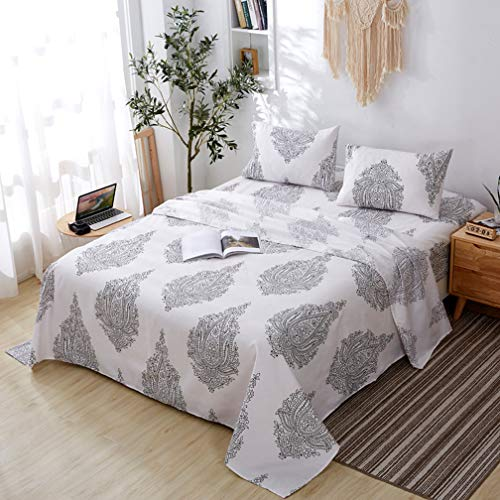 Agedate 4 Piece Brushed Microfiber Bed Sheets Set, Deep Pocket Bed Sheets Queen, Hypoallergenic, Easy to care, Fade, Stain and Wrinkle Resistant, Queen Size, White and Black Paisley Patterned (Queen Black Paisley Bedding)