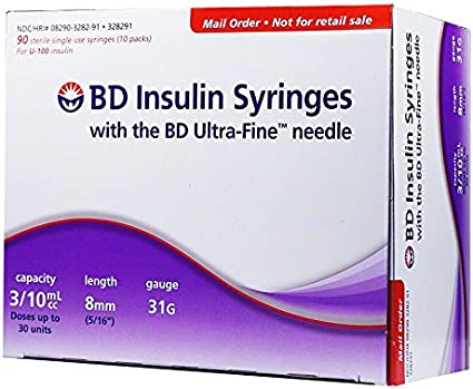 Amazon Com Bd Ultra Fine U 100 Insulin Syringes Short Needle