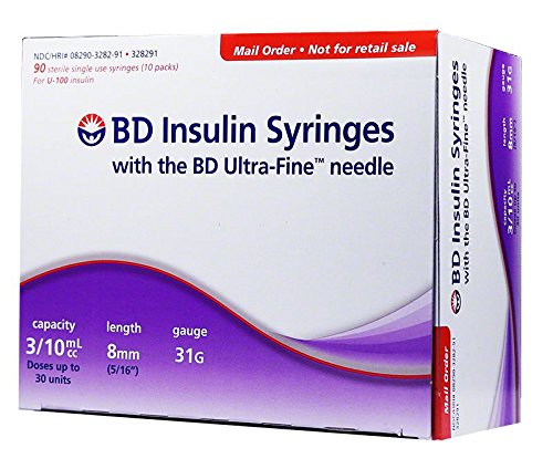 BD Ultra-Fine U-100 Insulin Syringes - Short Needle - 31 Gauge 3/10 cc 5/16 inch Box of 90