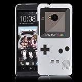 """HTC One (M7 - neu smartphone 2013) Hülle Hardcase (Harte Rückseite) Hülle Cover - """"Retro Gameboy"""" Muster Schutzhülle für HTC One (NICHT HTC One X X+ S SV V etc.) Weiß"""