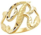 Size- 13 - 14k Yellow Gold Initial Letter Ring ''R''
