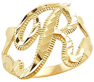 Size- 7.5 - 14k Yellow Gold Initial Letter Ring