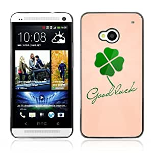 Designer Depo Hard Protection Case for HTC One M7 / Good Luck Message