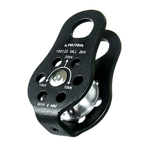 Fusion Climb Nuro Military Tactical Edition Fixed Side Aluminum Pulley, Black by Fusion Climb